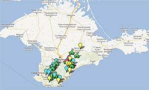 Расположение турбаз, туротелей и турприютов на карте Крыма (открыть в новом окне)